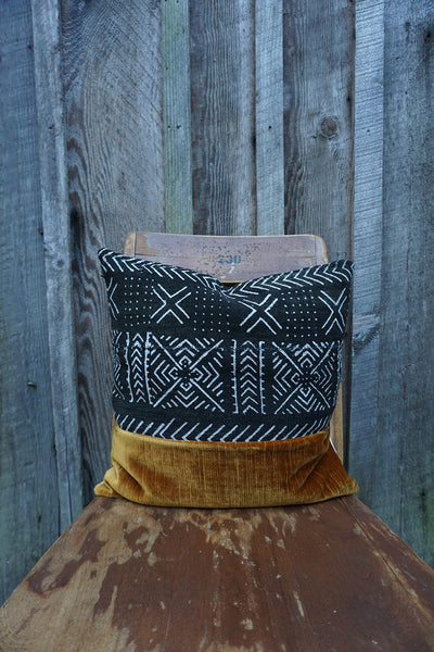 Winter - African Mudcloth with Vintage Velvet Pillow