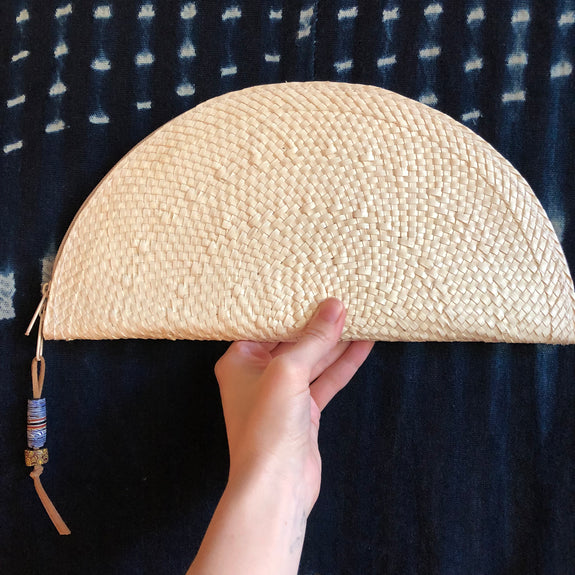 Half Moon Woven Palm Leaf Clutch