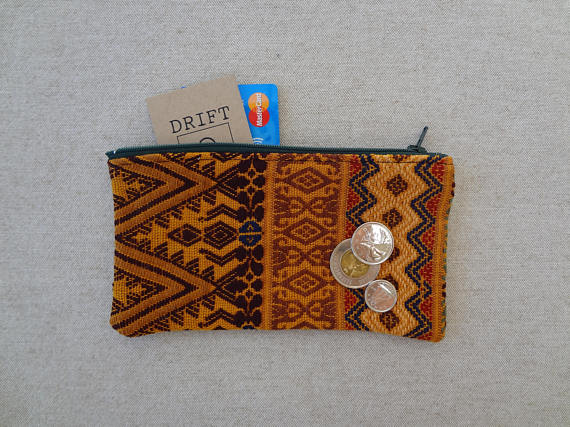 Colourful Zippered Pouch made from a Hand Woven Oaxacan Textile - #114