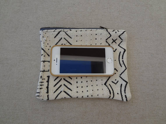 Black and White Brass Zippered Pouch made from African Mudcloth - #115