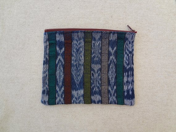 Handwoven Colourful Zippered Pouch made from a Traditional Guatemalan Corte - #117