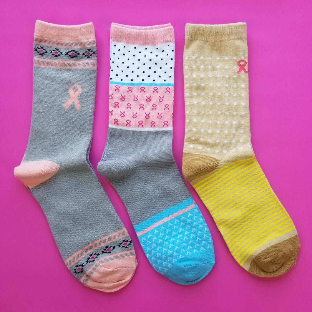 + Breast Cancer Awareness Socks, Color Varies
