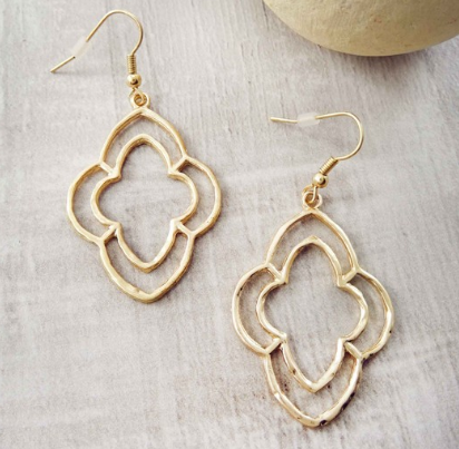 + Gold Hammered Double Clover Earrings