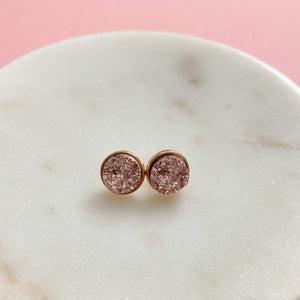 + Rose Gold Druzy Earrings