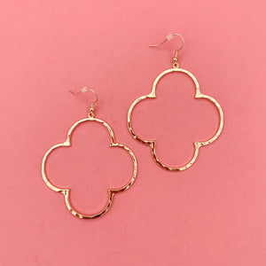 + Gold Hammered Clover Earrings