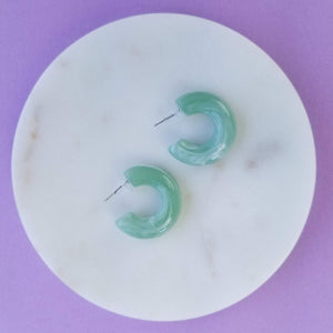 + Mini Green Acrylic Hoop Earrings
