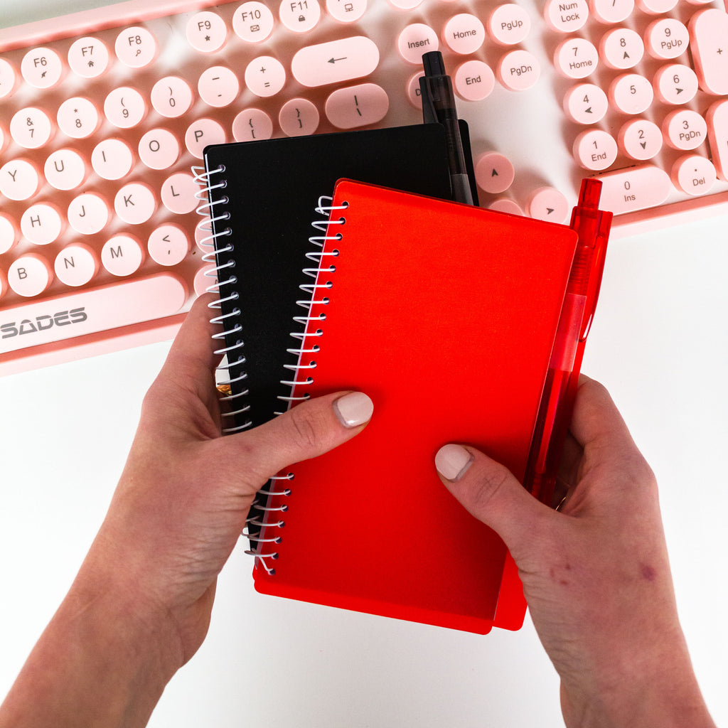 -Red Notebook and Pen-