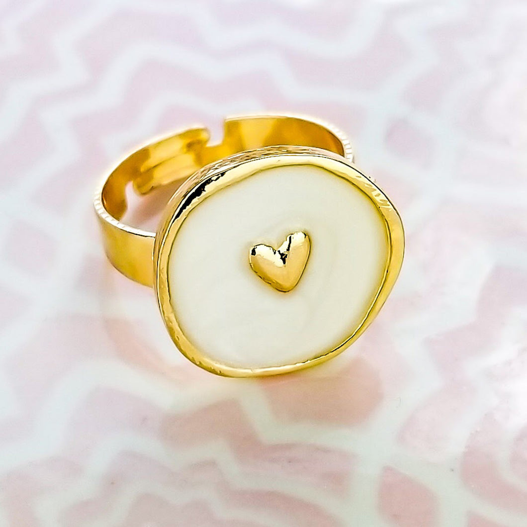+ Enamel Heart Adjustable Ring