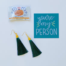 Load image into Gallery viewer, Green Tassel Earrings