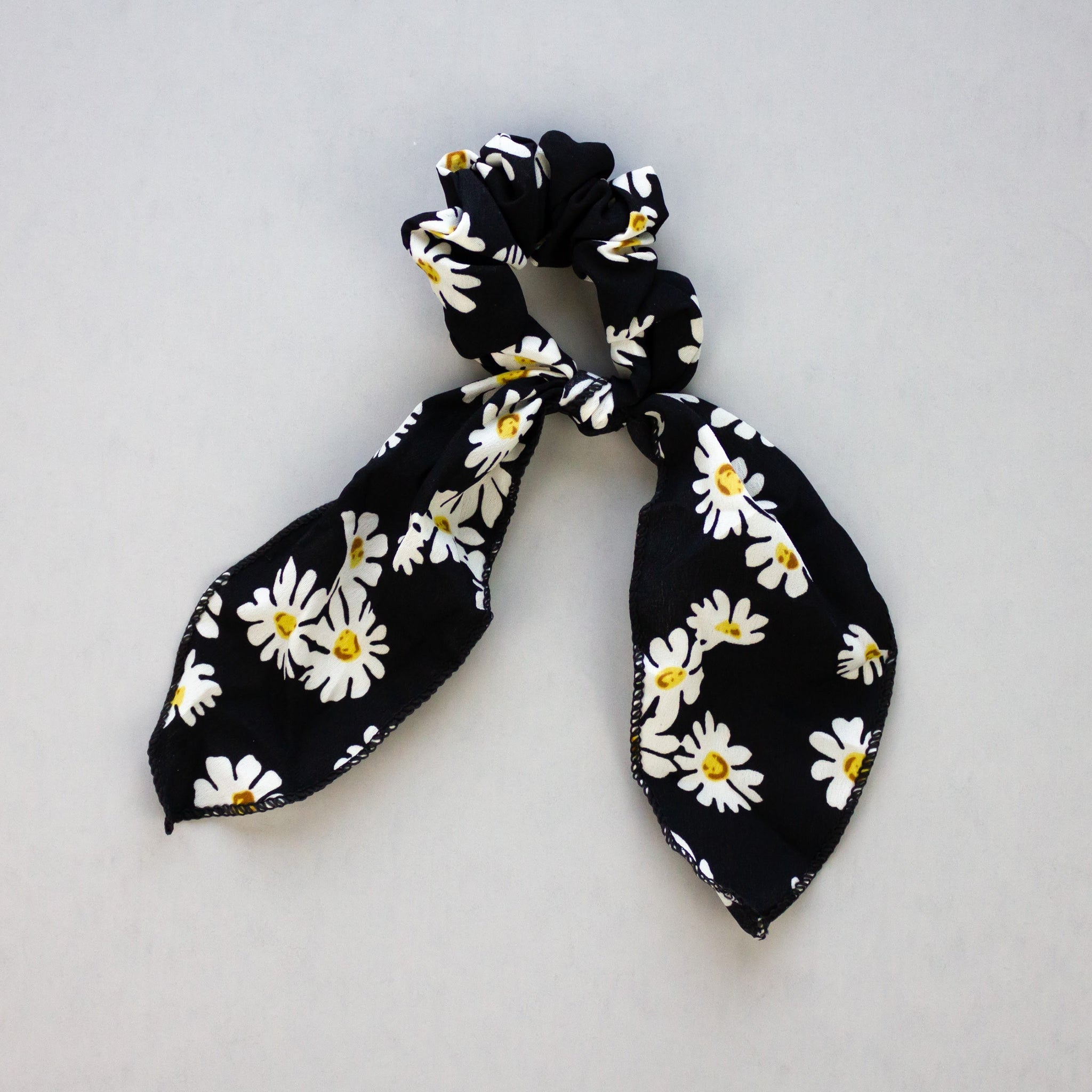 Black Daisy Scarf Scrunchie