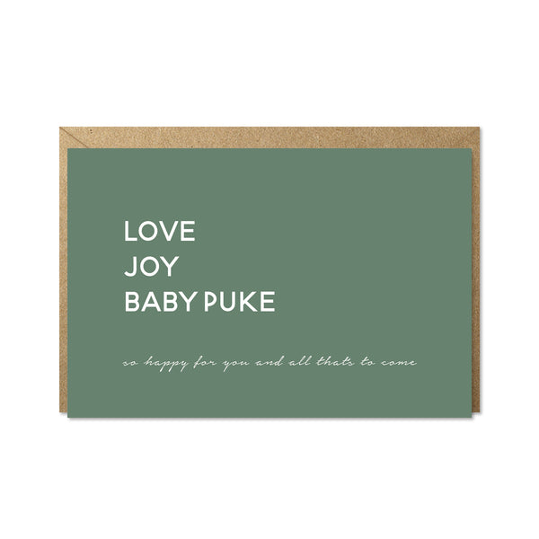 love, joy, baby puke