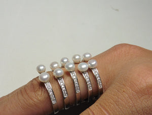 Pearl and cz adjustable ring