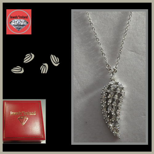 Angel wing necklace platinum vermeil