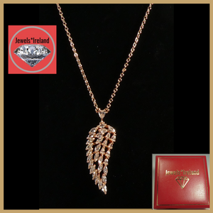 Angel wing necklace rose gold vermeil