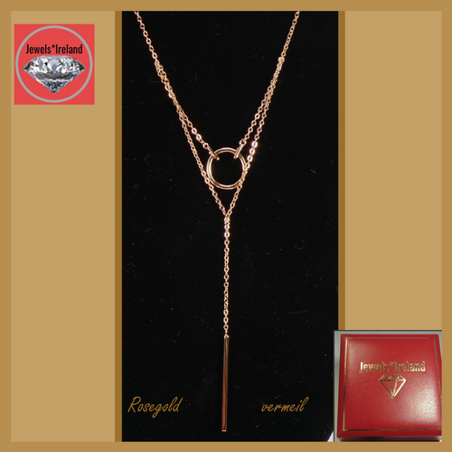 2 Layer circle & bar rosegold vermeil necklace