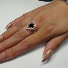 Black stone pear ring