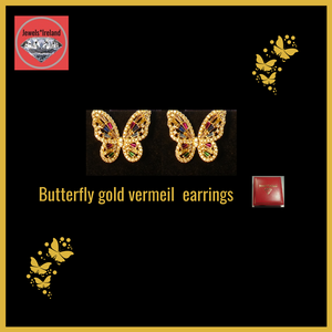 Gold vermeil colourful butterfly earrings