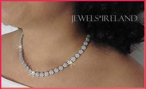Exquisite lab created diamond collar necklace.