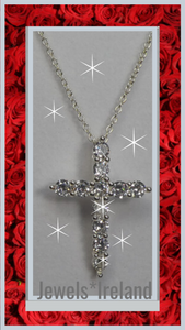Spectacular created diamond cross necklace