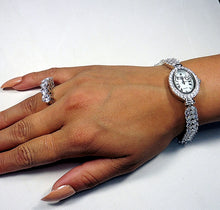 Stunning oval bezel sterling silver watch with simulant diamonds
