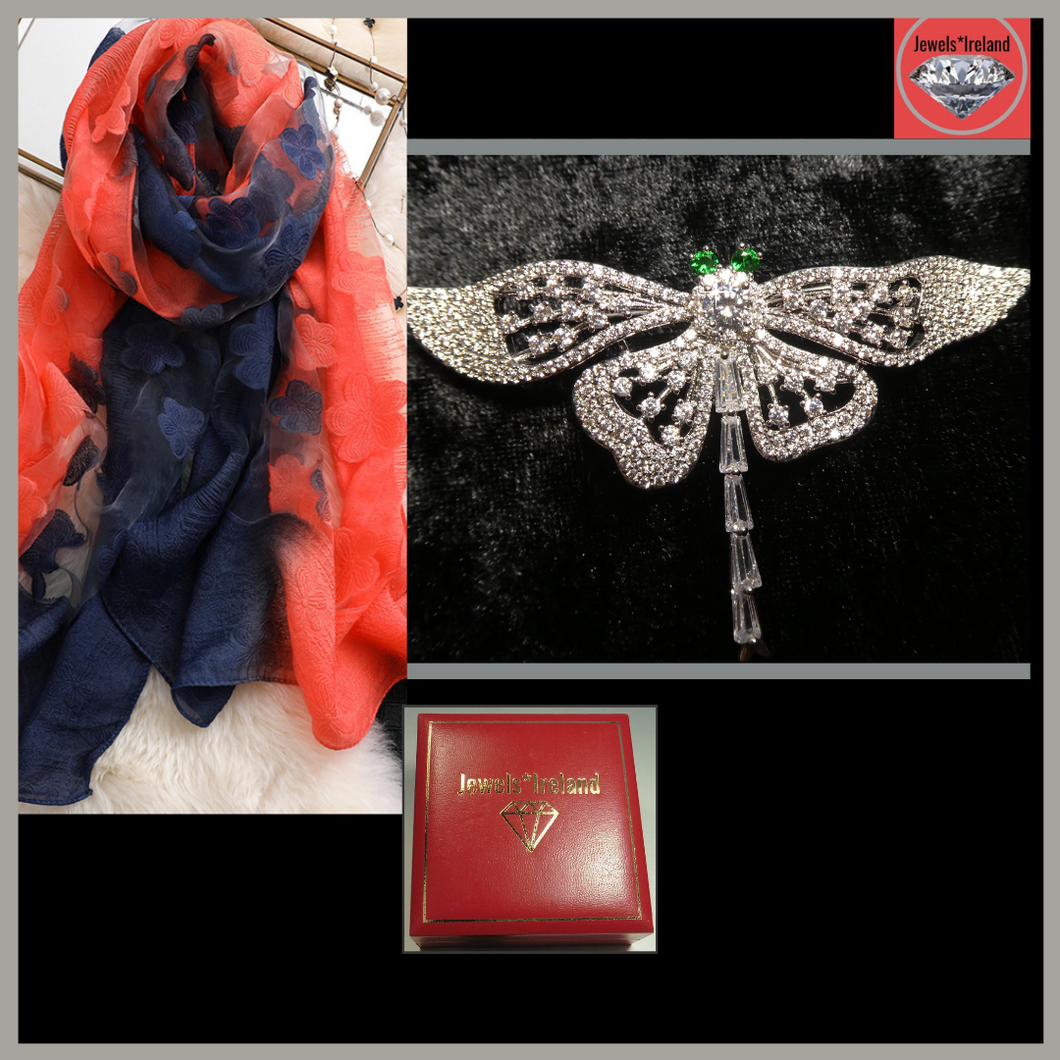 Elegant magical dragonfly brooch & free embroidery style scarf