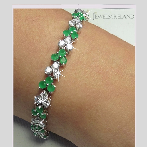 Elegant bracelet ethically grown diamonds & created emeralds