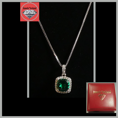 Gemstone created emerald necklace