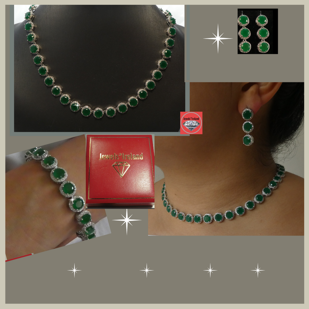 Emerald and diamond stunning lab created jewellery set.