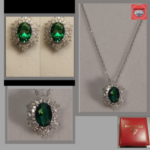 Emerald and diamond created necklace and earrings