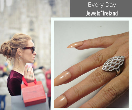 Alluring basket weave design  silver + Rhodium ring