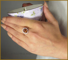 Amber earth colour cz gemstone ring