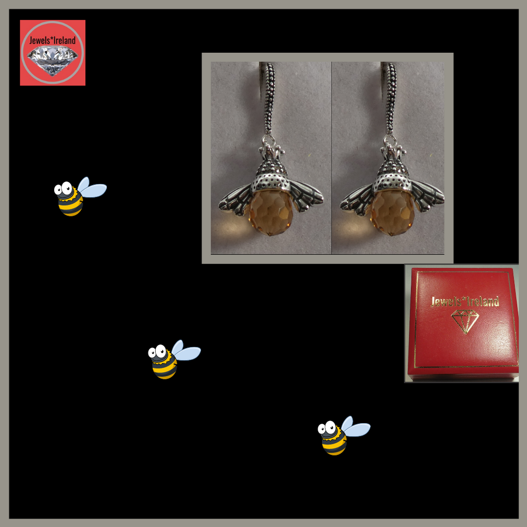 Creative honey bee silver earrings