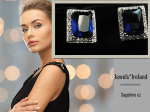 Halo sapphire cz earrings with non mined diamonds