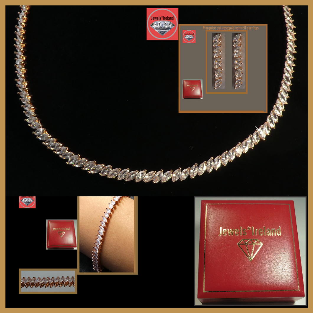 Marquise rose gold vermeil necklace earrings and bracelet