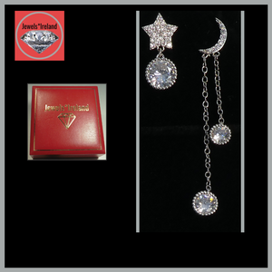 Moon and star dangle  geo earrings.