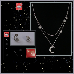 Promotion;Silver Star and moon 2 layer necklace & earrings offer.