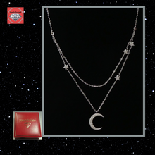 Silver Star and moon 2 layer necklace