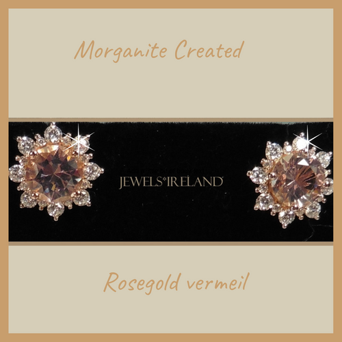 Morganite & diamond created earrings.