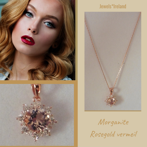 Morganite & diamond created gems rosegold necklace.