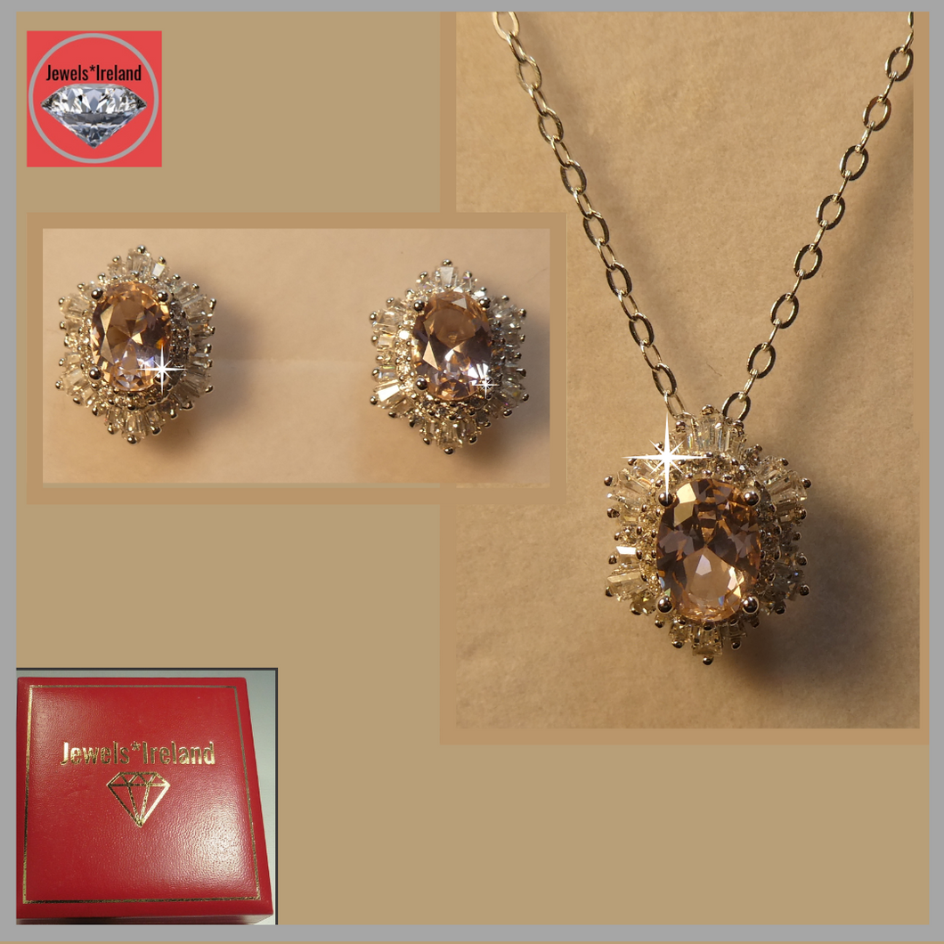 Diamond and morganite created gemstone silver necklace and earrings