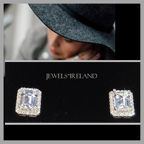 Classical princess cut manmade diamond earrings