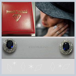 Oval created sapphire earrings