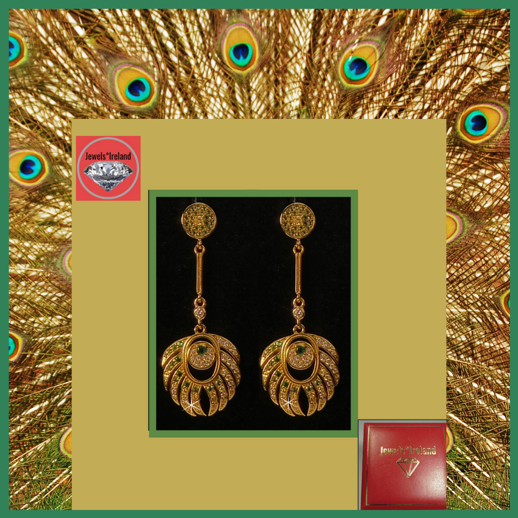 Peacock earrings gold vermeil