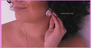 Pink dazzling distinctive quality earrings