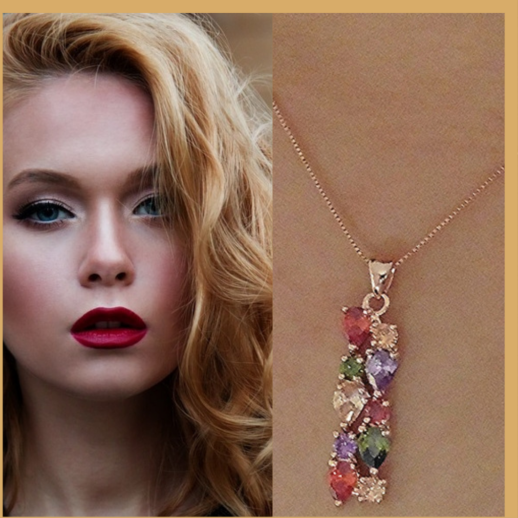 Rose gold created multi colour necklace