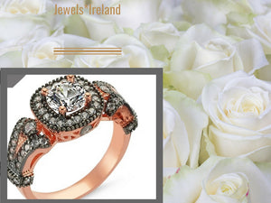 Rosegold +black rhodium ring with sparkling stones
