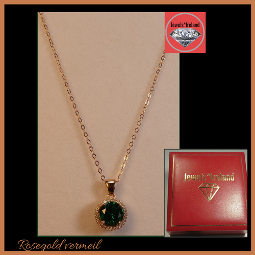 Gemstone created green necklace Rose gold vermeil.