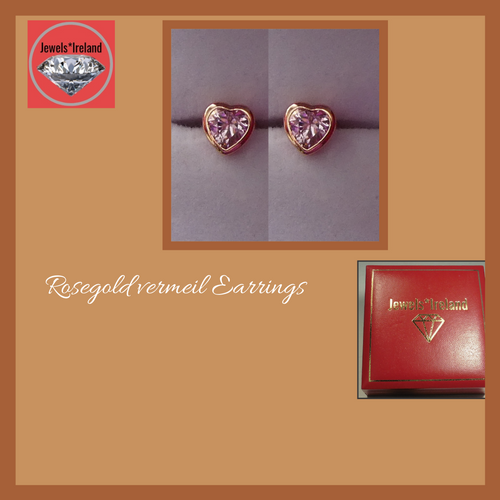 Pink crystal heart rosegold vermeil earrings