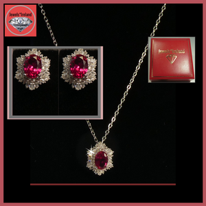 Gemstone & diamond lab created red ruby necklace and earrings.