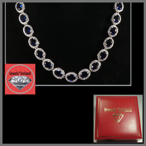 Sapphire and diamond lab created collar necklace.